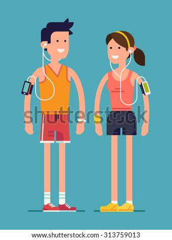 Trendy flat character design on runners couple full length isolated | Vector adult fitness man and woman standing smiling in summer outfits with music player earphones and phone arm holders  - stock vector