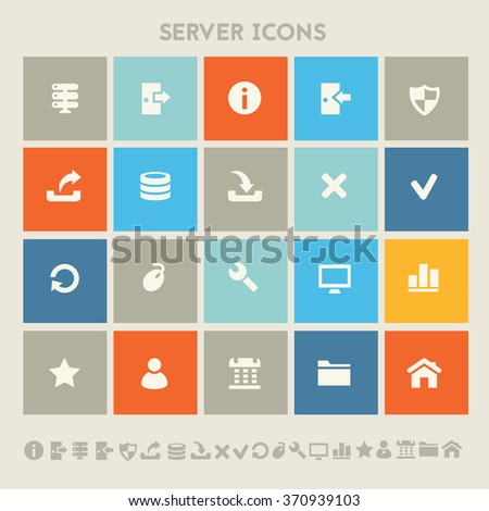 Trendy flat design server icons on colored square buttons - stock vector