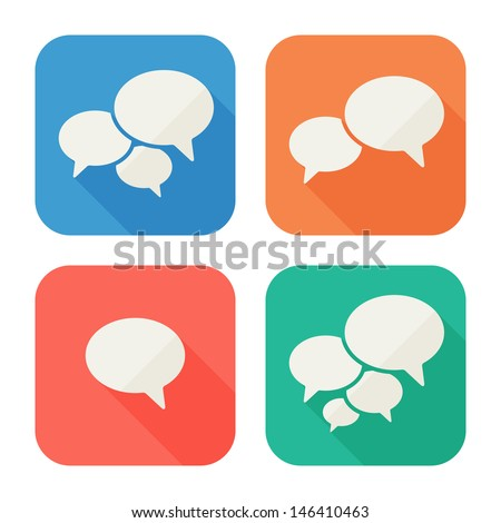 Trendy Flat Icons With Speech Bubbles. Set. Vector - stock vector