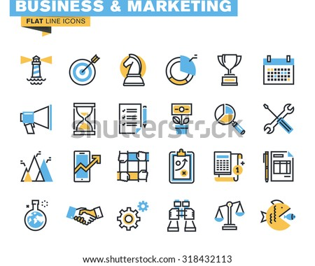 Trendy flat line icon pack for designers and developers. Icons for business, marketing, management, strategy, planning, analytics, finance, market research, for websites and mobile websites and apps.  - stock vector