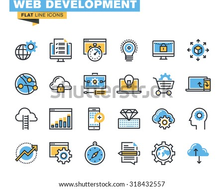 Trendy flat line icon pack for designers and developers. Icons for website and app development, programming, seo, website maintenance, online security, responsive design, cloud computing. - stock vector