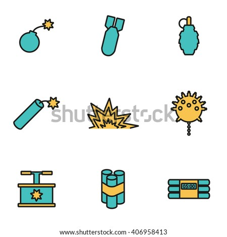 Trendy flat line icon pack for designers and developers. Vector line bomb icon set - stock vector