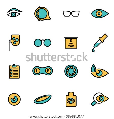Trendy flat line icon pack for designers and developers. Vector line optometry icon set, optometry icon object, optometry icon picture, optometry icon image - stock vector - stock vector