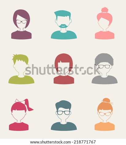 trendy flat people icons set 4 - stock vector
