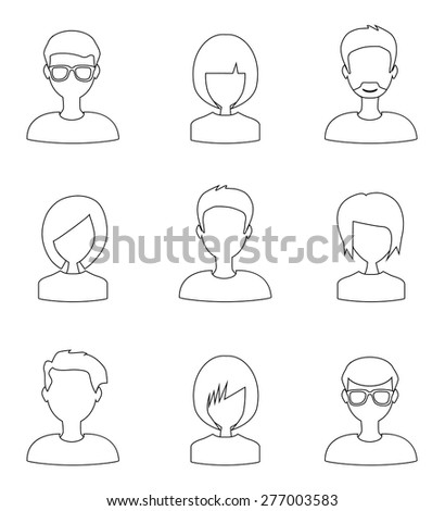 trendy flat thin line people icons - stock vector