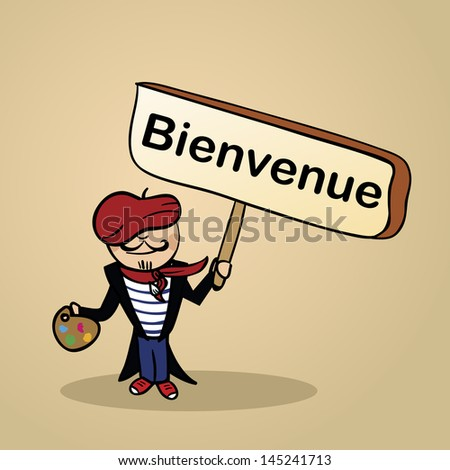 Trendy french man says welcome holding a wooden sign sketch. Vector file illustration layered for easy editing. - stock vector