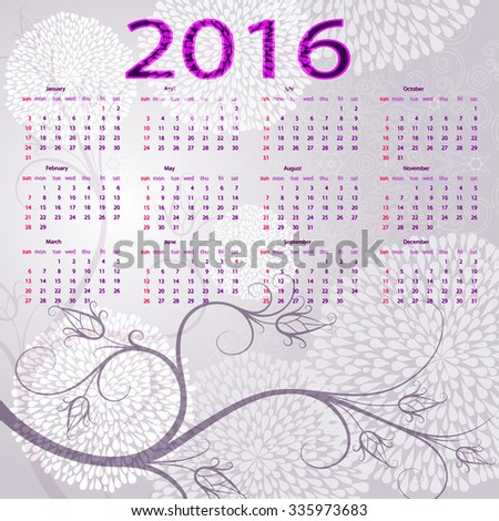 Trendy gentle violet floral frame with balls and calendar for 2016, vector eps 10 - stock vector
