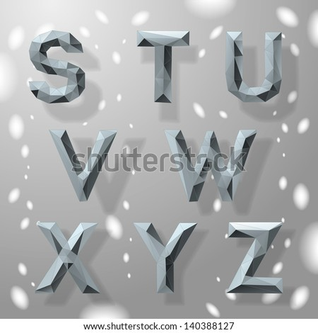 Trendy grey fractal geometric numbers, part 4. Vector Illustration.  - stock vector