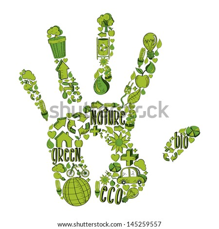 Trendy hand with environmental hand drawn icons in green. This illustration is layered for easy manipulation and custom coloring - stock vector