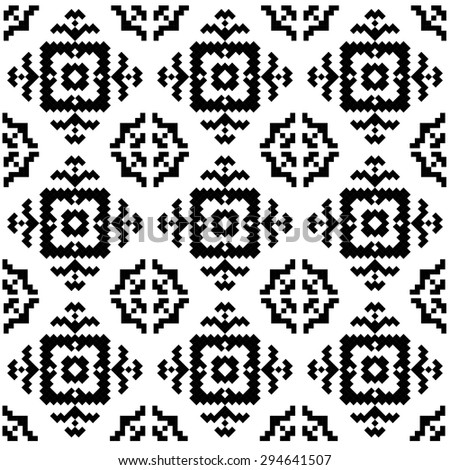 Trendy hipster Black and white pixel seamless pattern with american indian motifs in black and white colors. Aztec background. Textile print with navajo tribal ornament. Native american art. - stock vector