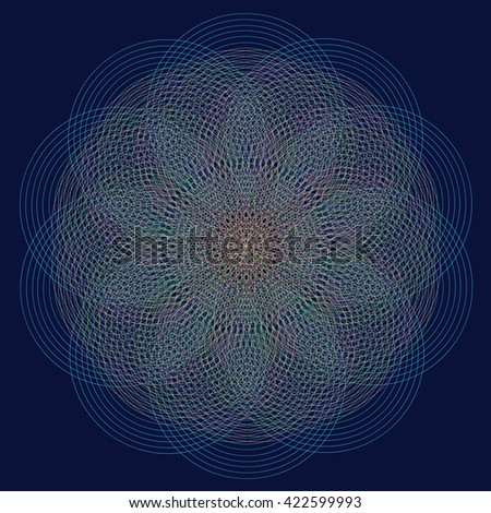 Trendy hipster colored circle, bright philosophical symbol, circular elements that are a religious, Aztec and African tattoo symbol. Philosophy, spirituality, occultism symbol, Trendy hipster circle. - stock vector