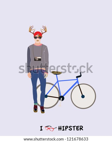 Trendy hipster man with deer horns and a blue vintage bike - stock vector