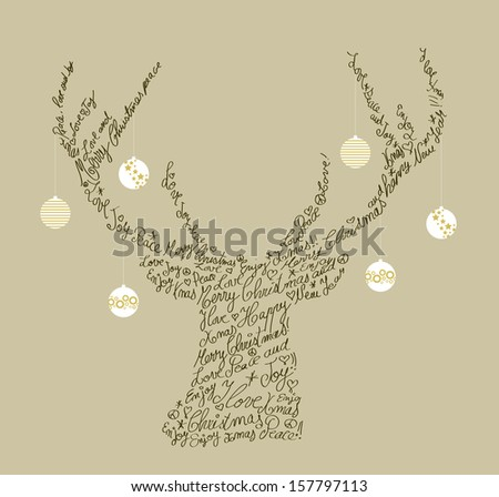 Trendy hipster reindeer shape with holiday text and baubles. Merry Christmas composition. EPS10 vector file organized in layers for easy editing. - stock vector