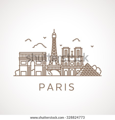 Trendy line illustration of Paris with different famous buildings and places of interest. Modern vector line-art design. - stock vector