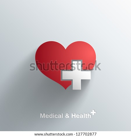 Trendy Medical Symbol With Transparent Shadow - stock vector