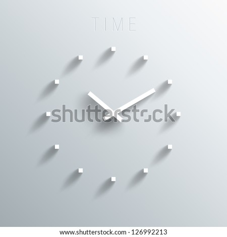 Trendy Minimalistic 3D Clock With Transparent Shadow - stock vector