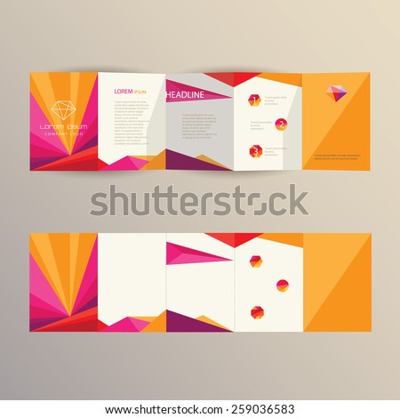 trendy modern colorful brochure template design in geometric triangular composition with polygon logo elements and icons - stock vector