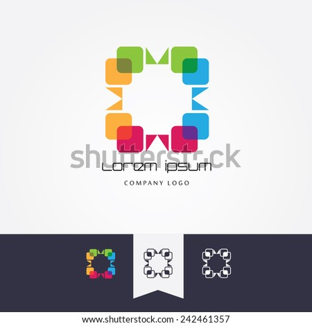 trendy multicolor logo element in abstract shape built with transparent cube shapes- for company visual identity- graphic studios, web design element icon- color, black and white versions - stock vector