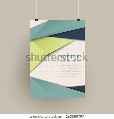 trendy poster design with origami style elements in blue and green  - stock vector