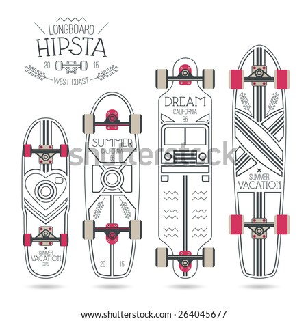 Trendy print on a longboard and skateboard. Black lines on a white board - stock vector