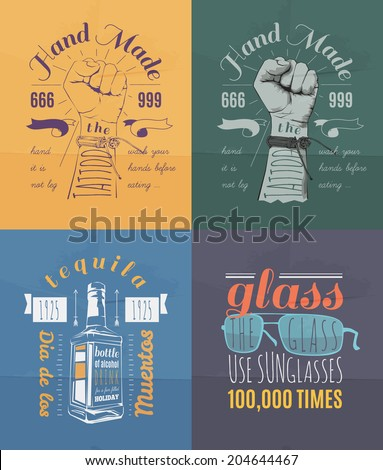 Trendy Retro Vintage Insignias Bundle | Retro hand drawn elements for calligraphic designs | hipster, nomcore style | Vintage ornaments | old labels | vector set - stock vector