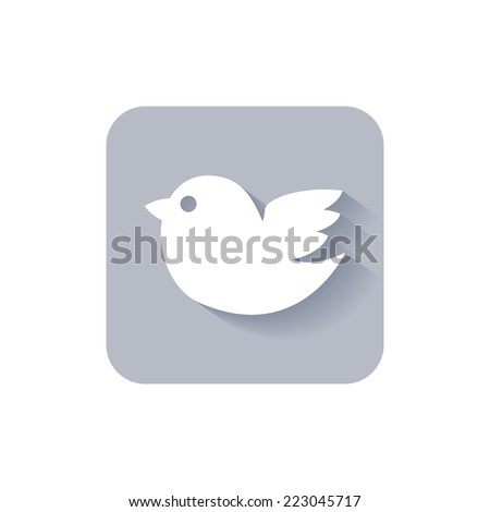 Trendy rounded square twitter bird social media web or internet icon with a long shadow vector design element on white - stock vector