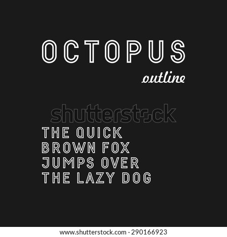 Trendy sans serif font in uppercase (outlined version) - stock vector