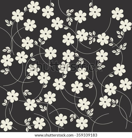 Trendy seamless pattern with cute ivory flowers. Floral template can be used for design fabric, linen, tile, wallpaper, paper and more creative designs. Vector image. - stock vector