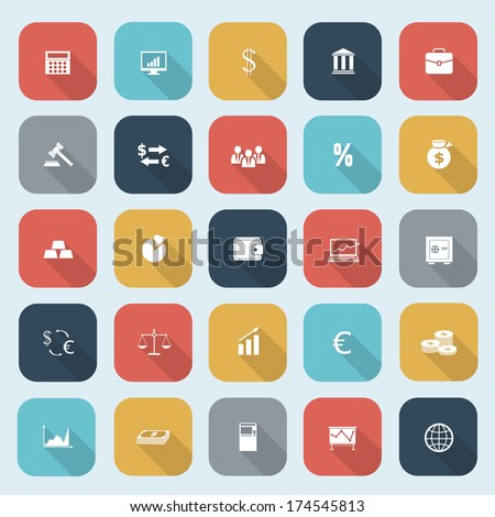 Trendy simple finance icons set in flat design with long shadows for web, mobile applications, social networks etc. Vector eps10 illustration - stock vector