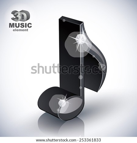 Trendy slim musical note 3d modern style icon isolated, 3d music element, image contain transparent shadows reflections and flares  �¢?? ready to put over any background. - stock vector