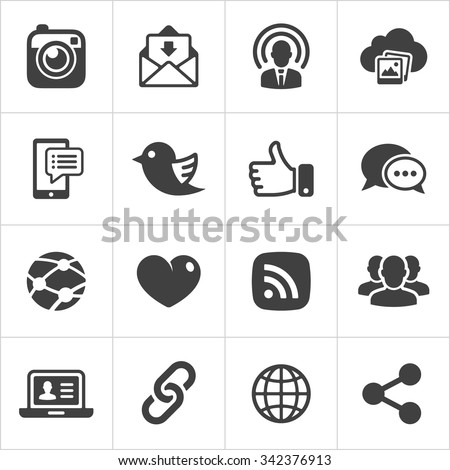 Trendy social network icons set Vector illustration - stock vector