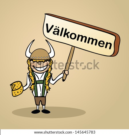Trendy swedish woman says welcome holding a wooden sign sketch. Vector file illustration layered for easy editing. - stock vector