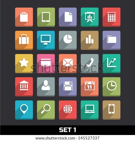Trendy Vector Icons With Long Shadow Set 1 - stock vector