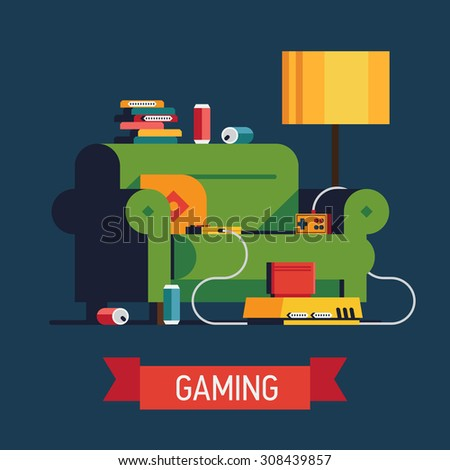 Trendy vector illustration on 'Gaming' with home video game console with controllers and cartridges, cozy green sofa, and soda cans  | Having fun playing good old video games concept illustration - stock vector