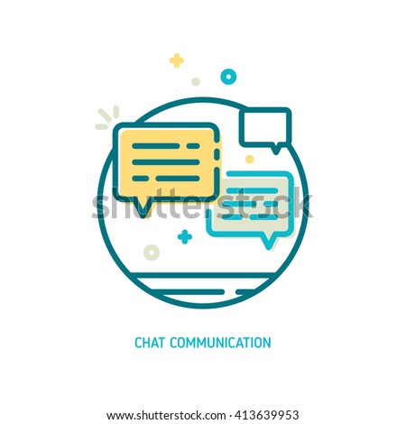 Trendy vector line chat communication icon. Message icon. Conversation icon - stock vector