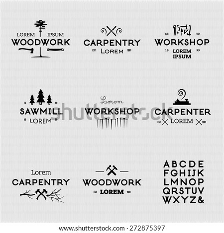 Trendy vintage woodwork logo set. High quality vector design elements. - stock vector