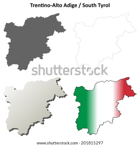 Trentino-Alto Adige blank detailed outline map set - vector version - stock vector