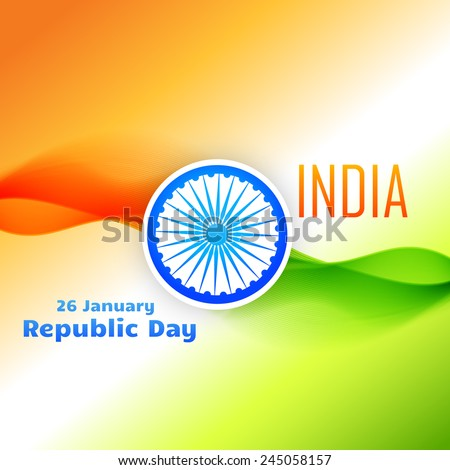 tri color indian flag design for 26 january republic day - stock vector