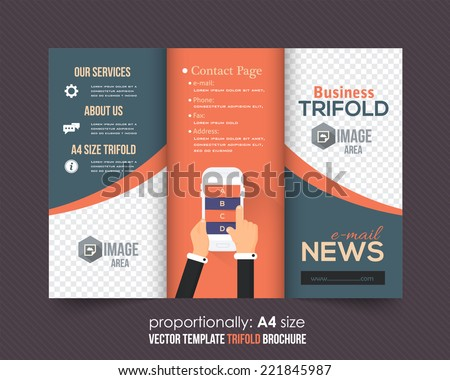 Tri-fold Brochure and Catalog Vector Concept Template Flat Elements - stock vector