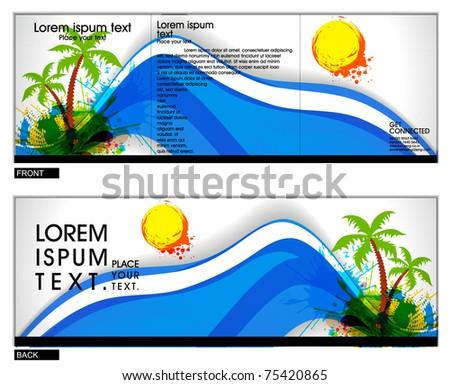 Tri fold brochure business cover design template. Vector Illustration - stock vector
