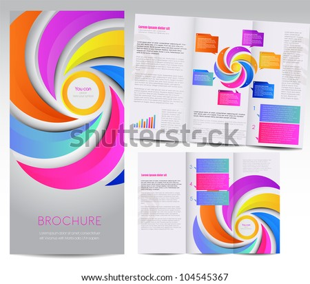 Tri-fold brochure design - stock vector