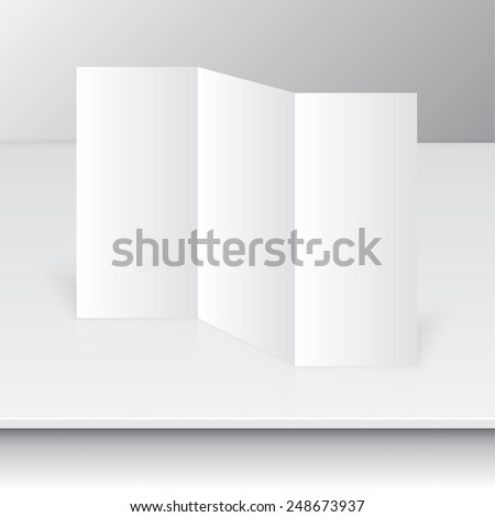 Tri fold brochure design standing on a shelf. mock up. corporate brochure or cover design. for publishing, menu, print and presentation. - stock vector