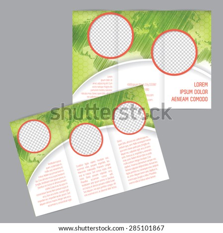 Tri-fold brochure design with world map and image containers - stock vector