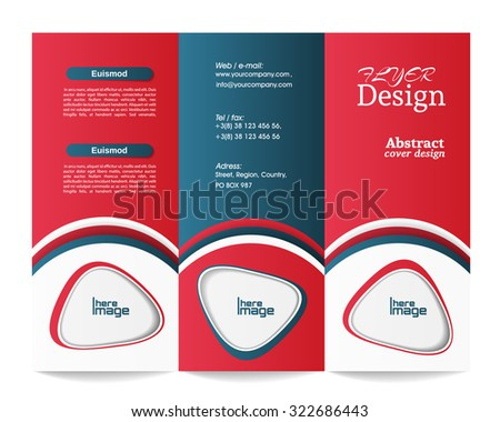 Tri-fold brochure template - stock vector