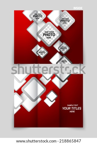 Tri-fold brochure template design with gray squares on red background - stock vector