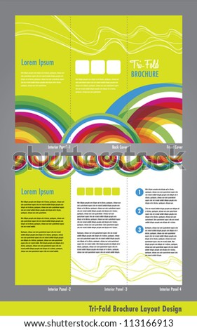 Tri Fold Business Brochure Pamphlet Template - stock vector