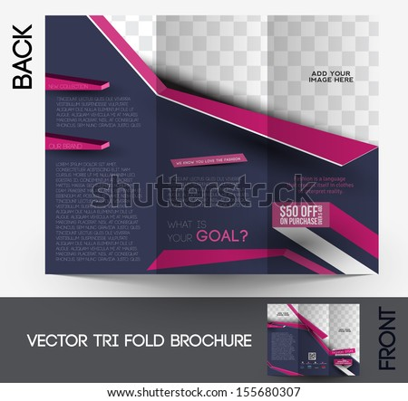 Tri-fold Fashion Brochure Design Vector Illustartion. - stock vector