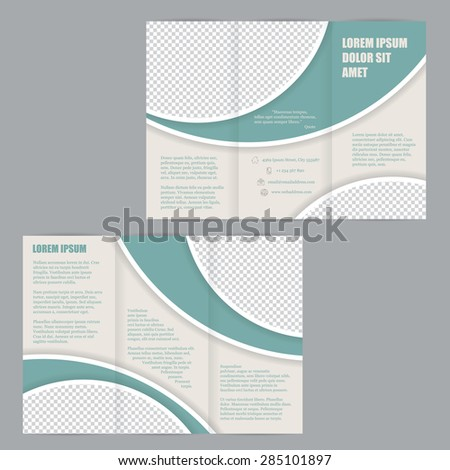 Tri-fold flyer brochure design template with green waves - stock vector