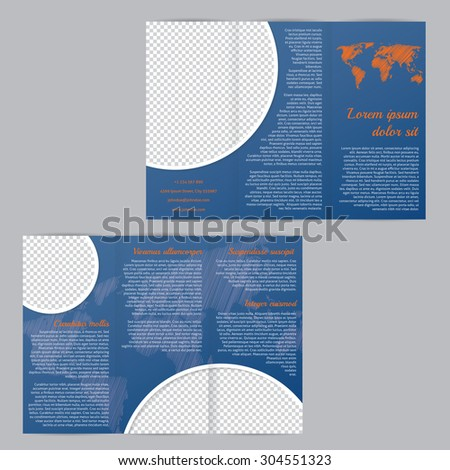 Tri-fold flyer brochure template design with scribbled world map and photo container - stock vector