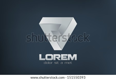 Triangle abstract impossible looped vector logo design template.  Cycle loop symbol. Corporate Stylish icon. - stock vector